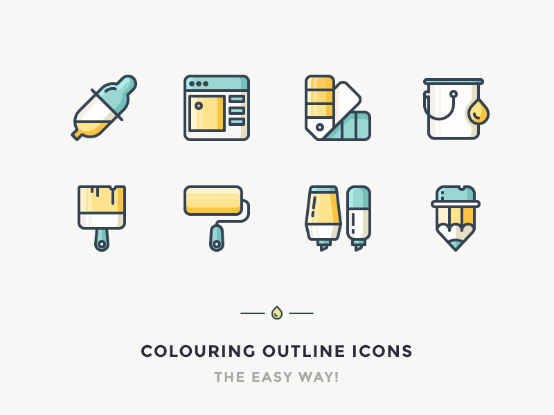 colouring outline icons easy way