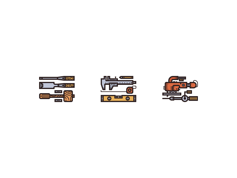 wood work tools icon set